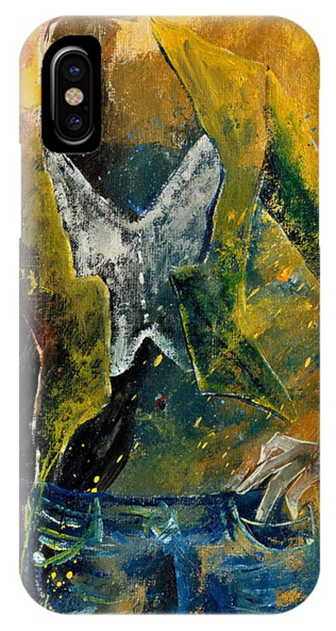 Model IPhone X Case featuring the painting Model 45 by Pol Ledent