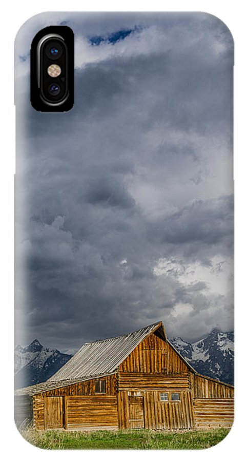 Grand Tetons National Park IPhone X Case featuring the photograph Molton Barn And Approaching Storm by Greg Nyquist