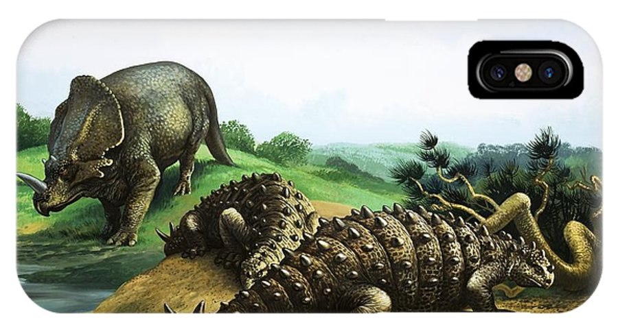 Monoclonius; Scolosaurus; Dinosaur; Pre-historic Animals; Prehistoric Animals; Dinosaurs IPhone X Case featuring the painting Monoclonius And Scolosaurus by English School