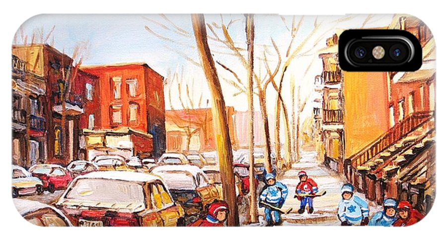 Montreal Street Scene With Boys Playing Hockey IPhone Case featuring the painting Montreal Street With Six Boys Playing Hockey by Carole Spandau