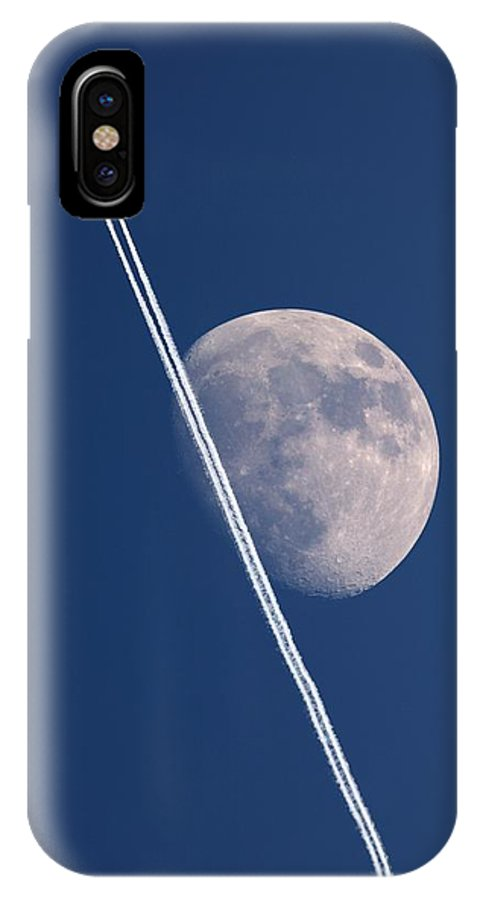Moon IPhone X / XS Case featuring the photograph Moon And Aircraft Contrails by Detlev Van Ravenswaay