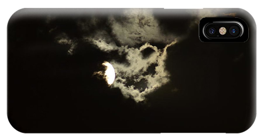 Moon IPhone X Case featuring the photograph Moonglow Reveals Face In The Cloud by Maureen E Ritter