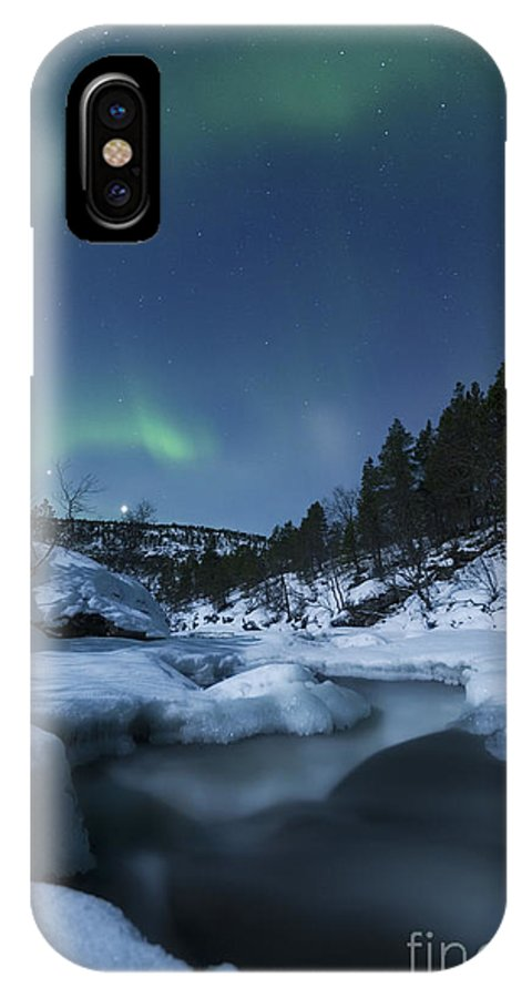 Green IPhone X Case featuring the photograph Moonlight And Aurora Over Tennevik by Arild Heitmann