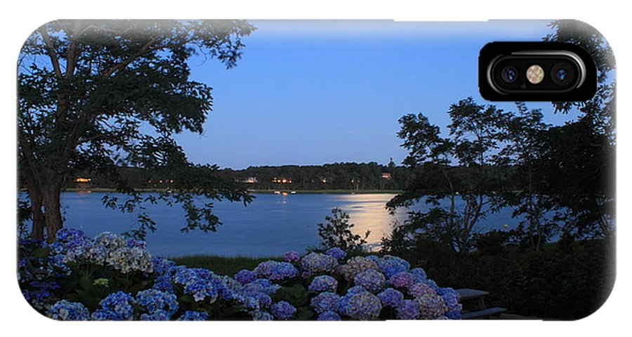 Cape Cod IPhone X Case featuring the photograph Moonlit Hydrangeas By The Se by John Burk