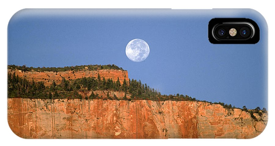 Zion National Park IPhone X Case featuring the photograph Moonrise Over East Temple - Zion by Sandra Bronstein