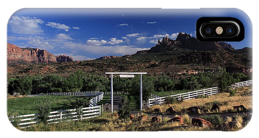 Grand View Ranch IPhone X / XS Case featuring the photograph Moonrise Over Grand View Ranch by Dave Sribnik