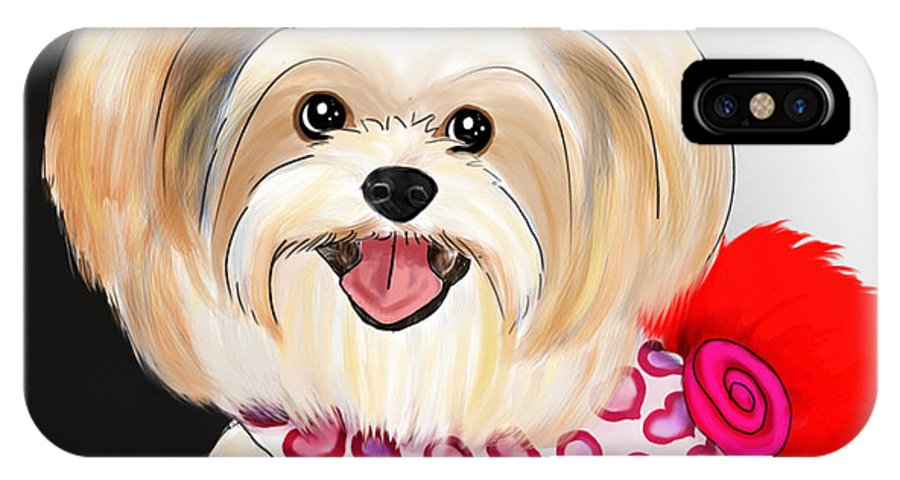 Morkie IPhone X Case featuring the mixed media Morkie Valentine by Catia Lee