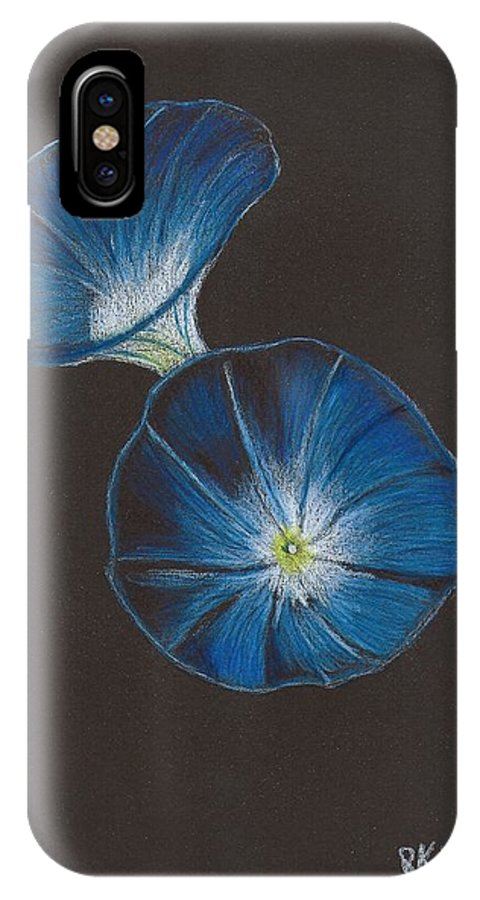 Moring Glory IPhone X Case featuring the drawing Morning Glorys by Brian White