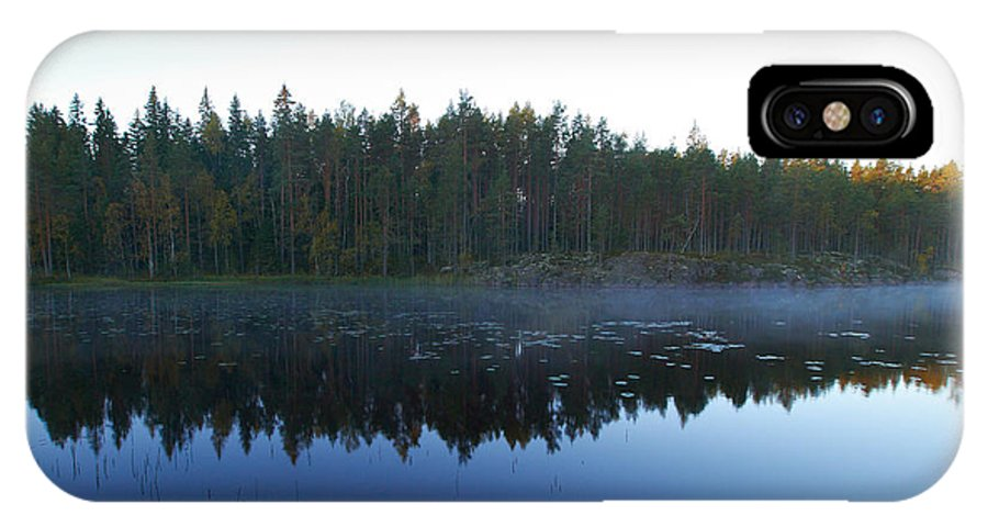 Haukkajarvi IPhone X Case featuring the photograph Morning Mist At Haukkajarv by Jouko Lehto