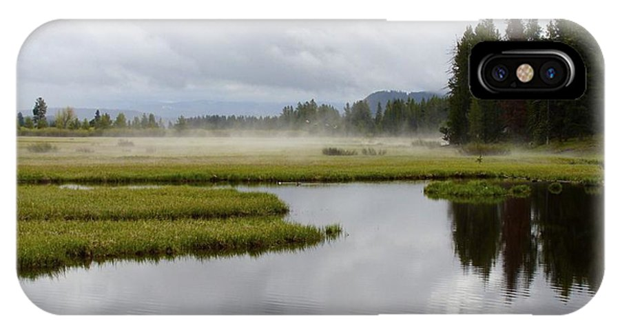 Tetons IPhone X Case featuring the photograph Morning Mist by Ramie Liddle