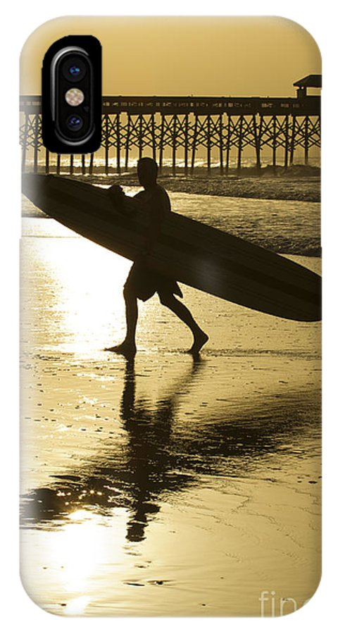 Morning Session IPhone X Case featuring the photograph Morning Session Longboard Surfing Folly Beach Sc by Dustin K Ryan