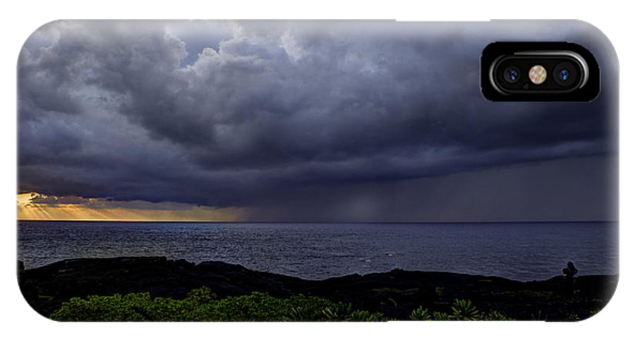 Sunrise IPhone X Case featuring the photograph Morning Squall by Mike Herdering