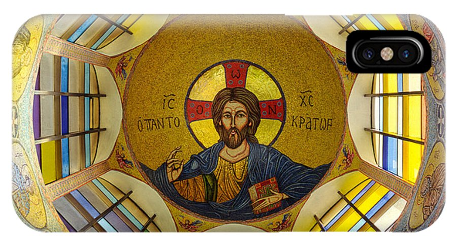 Christ Mosaic On Ceiling Of St Demetrios Greek Orthodox IPhone X Case featuring the photograph Mosaic Christ by Mike Penney