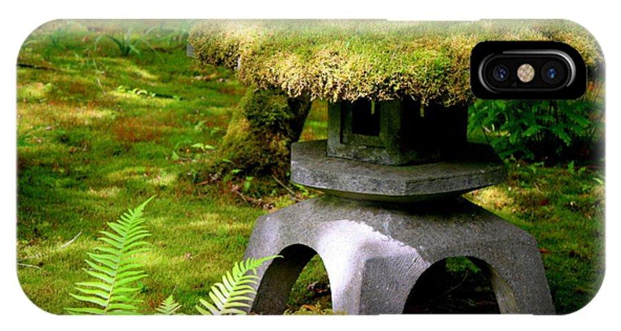 Japanese Garden Lantern IPhone X Case featuring the photograph Mossy Japanese Garden Lantern by Carol Groenen