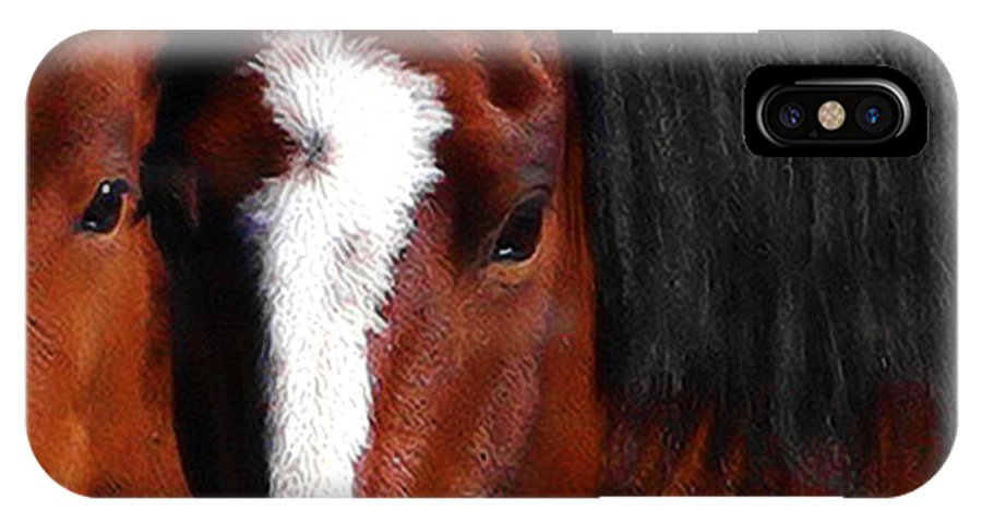 Horse IPhone X Case featuring the photograph Mother And Son Wild by Terry Fiala
