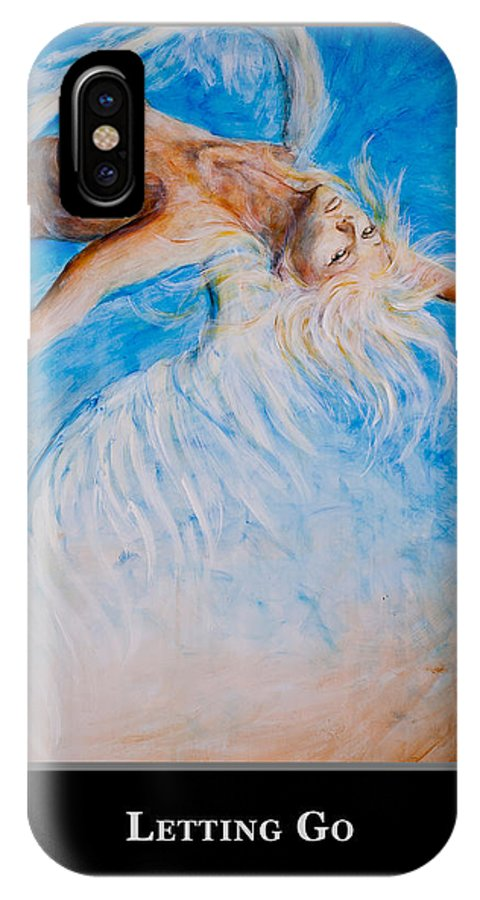 Motivational IPhone X Case featuring the painting Motivational Angel by Nik Helbig