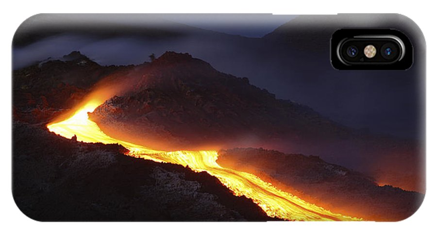 No People IPhone X Case featuring the photograph Mount Etna Lava Flow At Night, Sicily by Martin Rietze