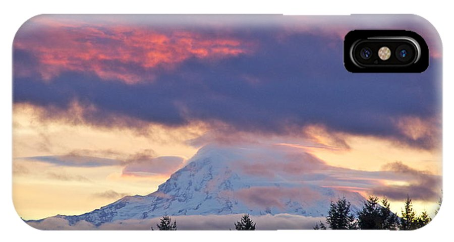 Photography IPhone X Case featuring the photograph Mount Rainier Shrouded In Clouds by Sean Griffin