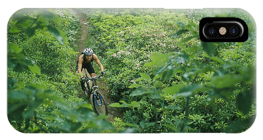 Rhododendron Species IPhone X / XS Case featuring the photograph Mountain Biker On Single Track Trail by Skip Brown