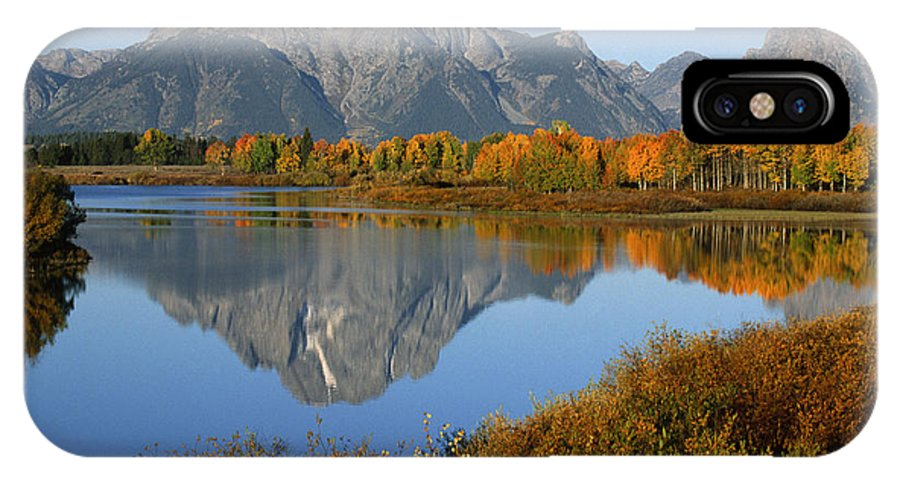 Grand Teton IPhone X Case featuring the photograph Mt. Moran Reflection by Sandra Bronstein