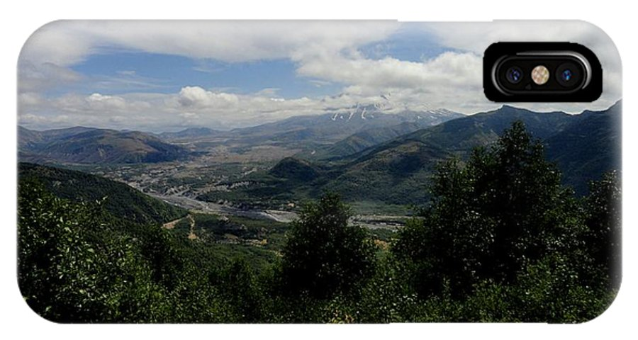Photos Of Mt St Helens Photographs Photographs IPhone X Case featuring the digital art Mt St Helens Lookout by Christy Leigh