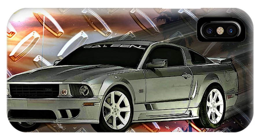 Mustang IPhone X Case featuring the digital art Mustang Saleen by Tommy Anderson