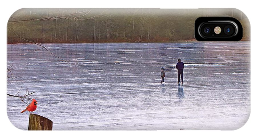 Ice IPhone X Case featuring the photograph My First Walk On Water by David Dehner