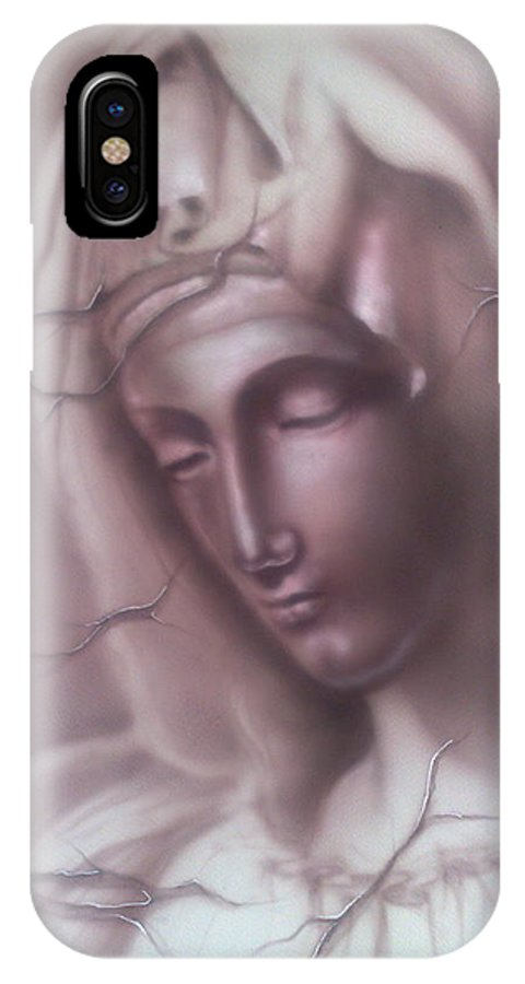 Acrylic IPhone X Case featuring the painting My Mary by Dimitri Kartsaklis