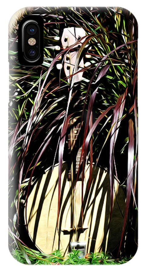 Banjo IPhone X Case featuring the photograph My Musical Garden by Bill Cannon