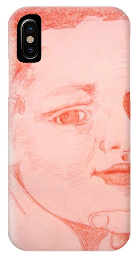 Portrait IPhone X Case featuring the drawing My Sister by Diane montana Jansson