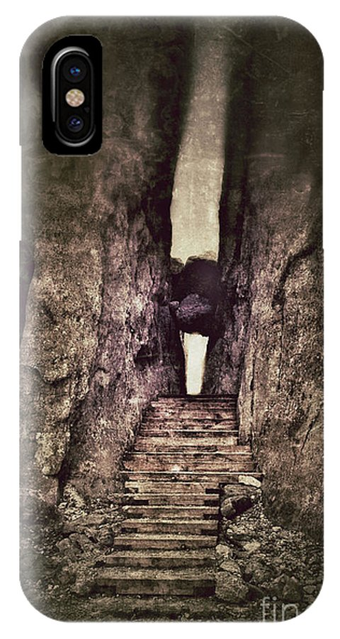Granite IPhone X Case featuring the photograph Mysterious Stairway Into A Canyon by Jill Battaglia