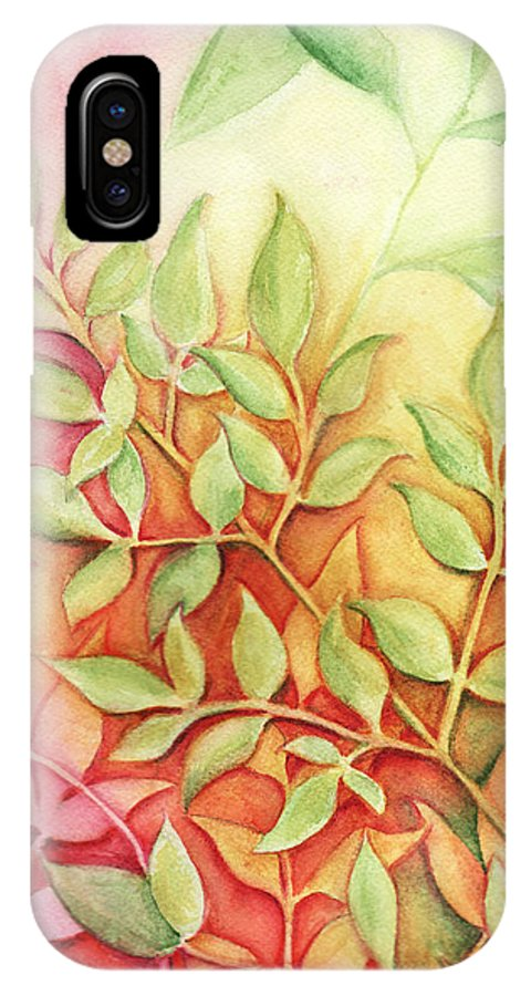 Leaves IPhone X Case featuring the painting Nandina Leaves by Carla Parris