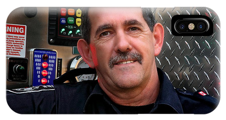 Portrait; Portraits; Napanee; Man; Men; xdop IPhone X Case featuring the photograph Napanee Fireman by John Herzog