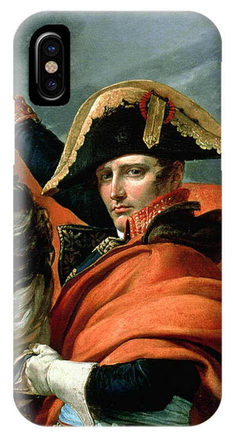 Equestrian; Portrait; Male; Rearing Horse; Grand St; Bernard; Napoleonic; Emperor; Bonaparte IPhone X Case featuring the painting Napoleon Crossing The Alps On 20th May 1800 by Jacques Louis David
