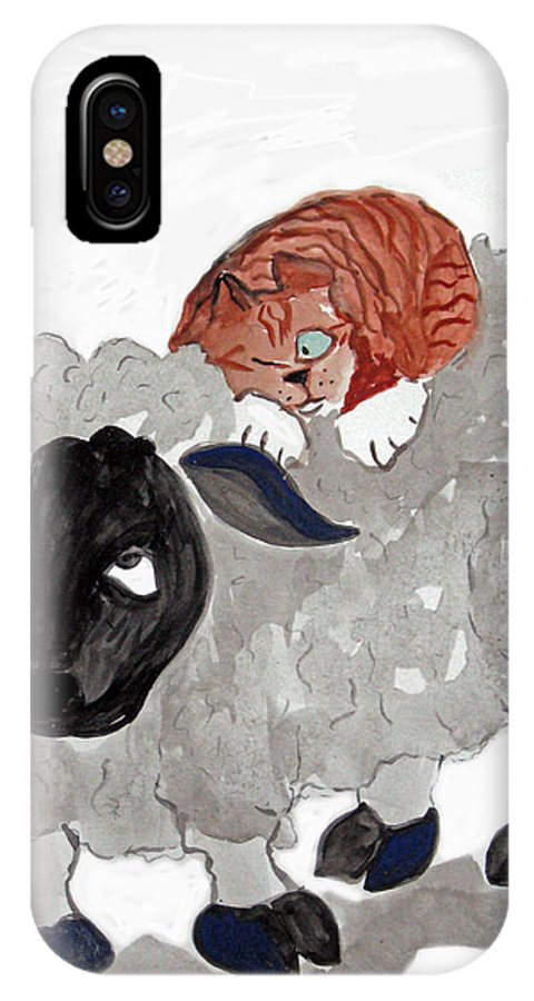 Cat+art Cat+cartoon Felines Sumi Kitten Neko Cat+drawings Cat+illustrations Funny Happy Humor Whimsy Whimsical Pets Cat IPhone X Case featuring the painting Natural Wool Cat Nap by Ellen Miffitt