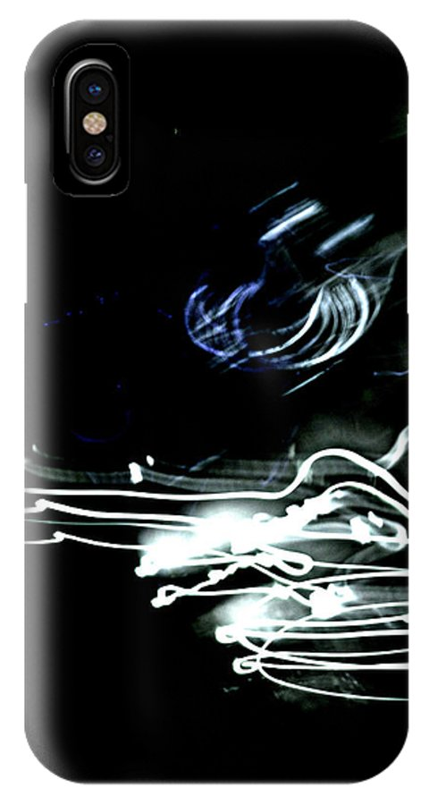 Light Motion Black Shadows Neon Blue White Grey Abstract IPhone X Case featuring the photograph neon I by Diane montana Jansson