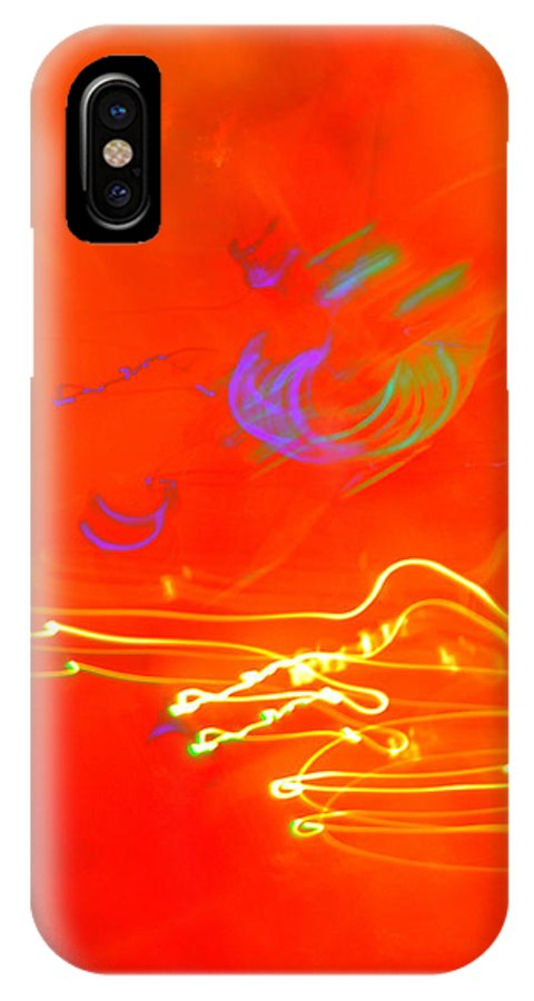 Light Neon Orange Purple Green Yellow Brilliant Abstract IPhone X Case featuring the photograph neon III by Diane montana Jansson
