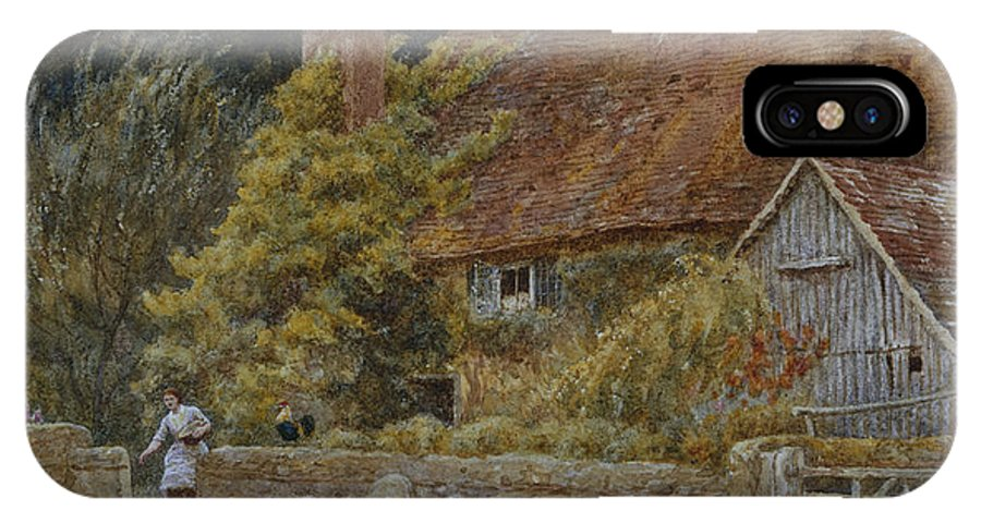 Farmhouse; House; Cottage; Ducks; Chickens; Hens; Feeding; Female; Victorian; Rural; Landscape; English IPhone X Case featuring the painting Netley Farm Shere Surrey by Helen Allingham