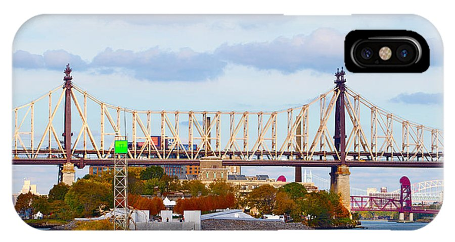 New York City Bridge Water Scenic Cloudy IPhone X Case featuring the photograph New York Bridge Water View by Alice Gipson