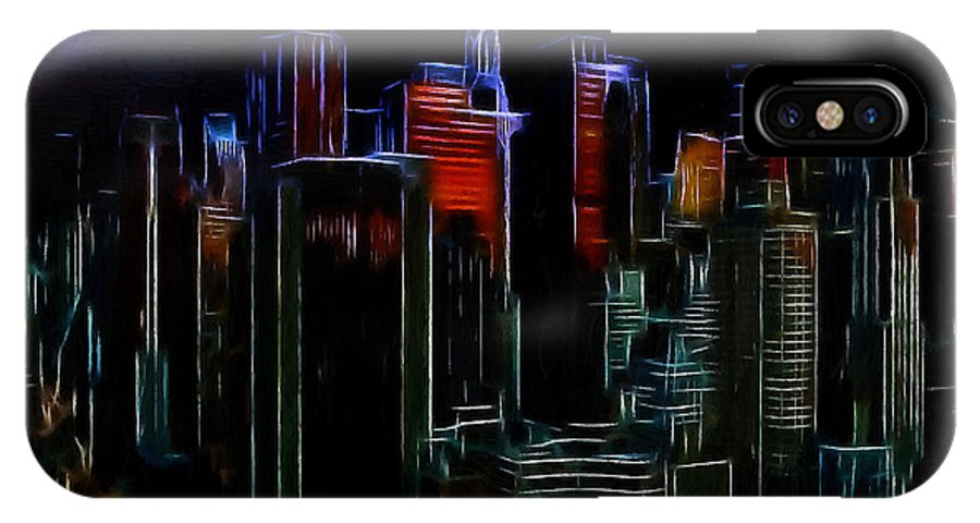 New York City Nyc Ny Big Apple Skyscrapers Night Ligh Lights Moon Moonlight Oil Painting Expressionism Blue Color Colorful Modern Art Cityscape Nightscape IPhone X Case featuring the painting New York By Moonlight by Steve K