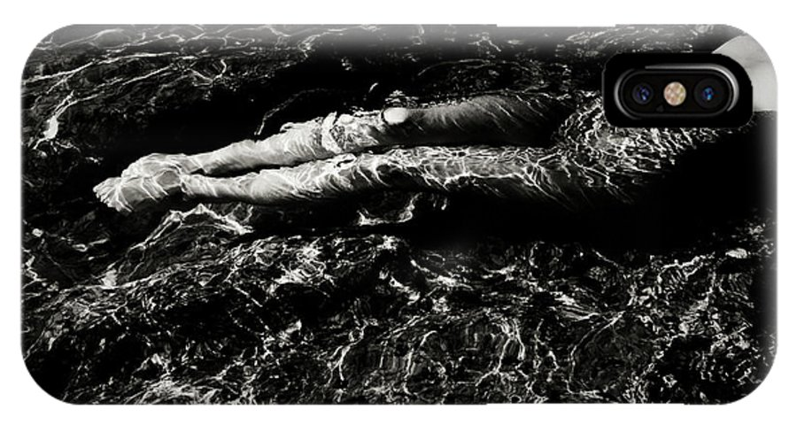 Black And White IPhone X Case featuring the photograph Nude In The Sea by Olivier De Rycke