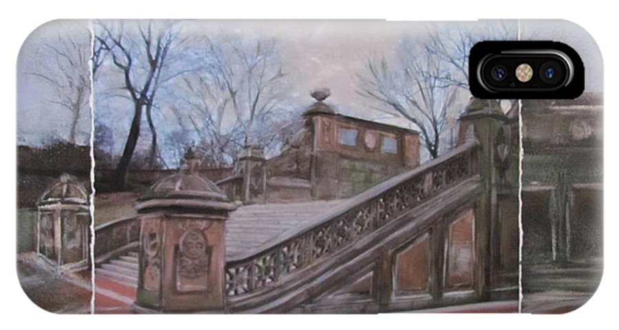 Nyc IPhone X Case featuring the mixed media NYC Bethesda Stairs layered by Anita Burgermeister