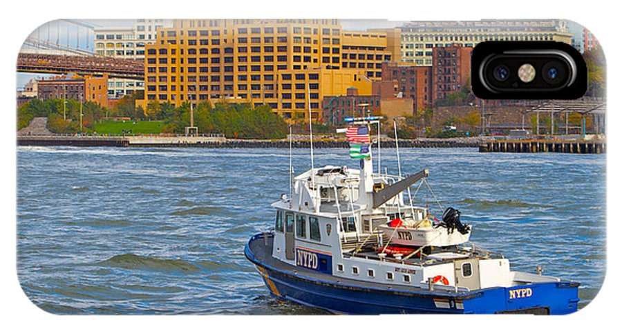 Nypd Boat New York City Water View Scenic IPhone X Case featuring the photograph Nypd In The Water by Alice Gipson