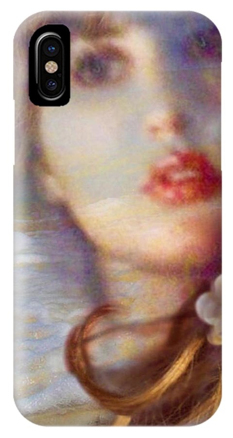 Face IPhone X Case featuring the pyrography Ocean Pearls by Laura Rispoli