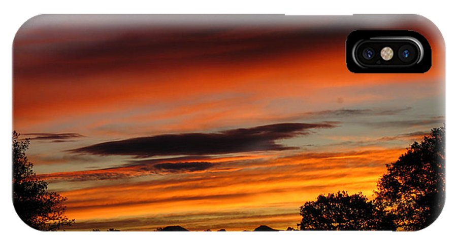 Sun IPhone X Case featuring the photograph October's Colorful Sunrise by Joyce Dickens