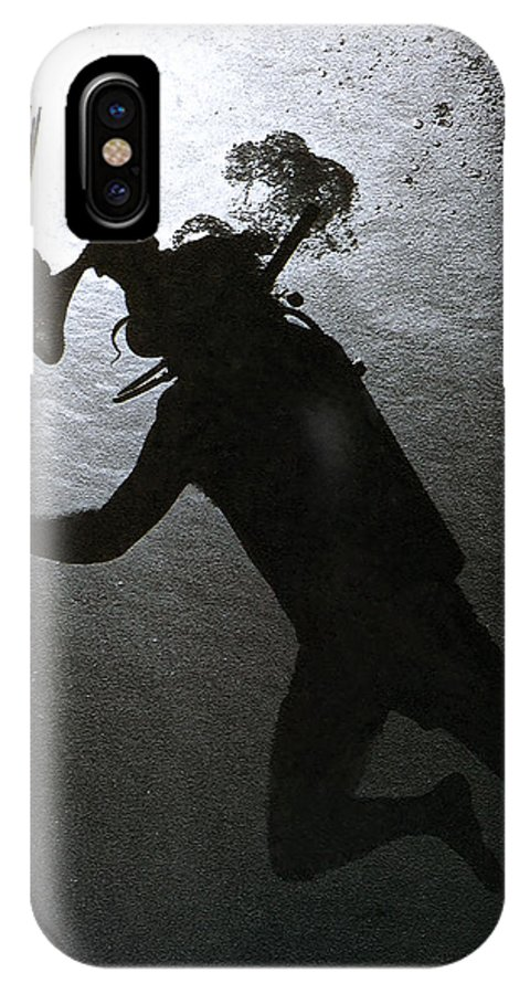 Diver Silhouette IPhone X Case featuring the photograph Octopus And Diver by Bill Owen
