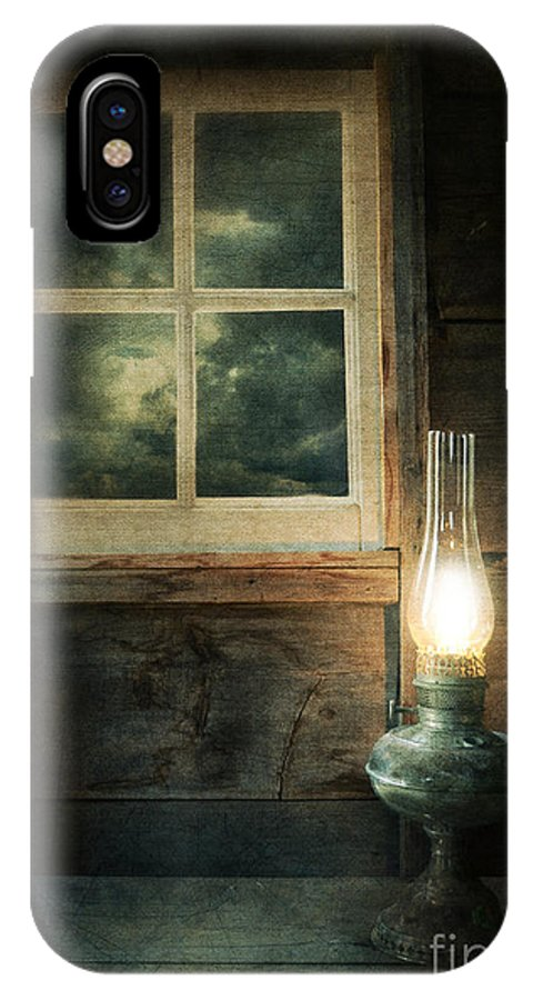 House IPhone X Case featuring the photograph Oil Lamp On Table By Window by Jill Battaglia