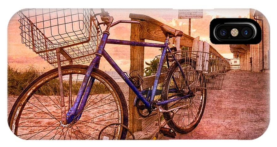 Clouds IPhone X Case featuring the photograph Ol' Bike by Debra and Dave Vanderlaan