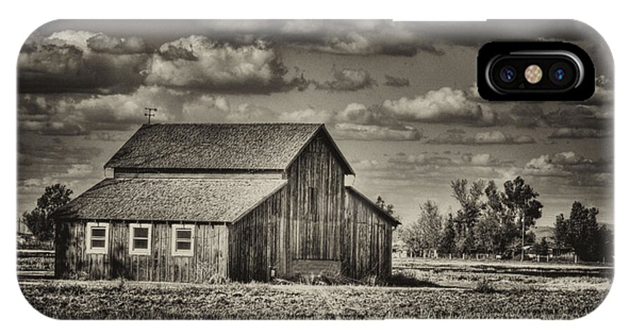 Barn IPhone X Case featuring the photograph Old Barn After The Storm Black And White by Jim And Emily Bush