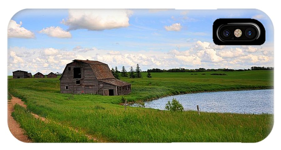 Field IPhone X Case featuring the photograph Old Barn by Dan S